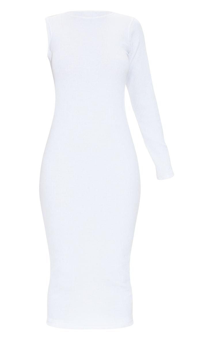 White Rib Cut Out Midi Dress 5