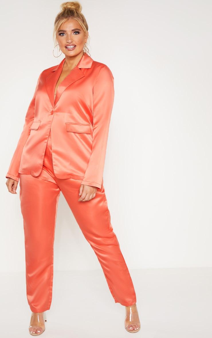 Plus Peach Tailored Satin Blazer 4