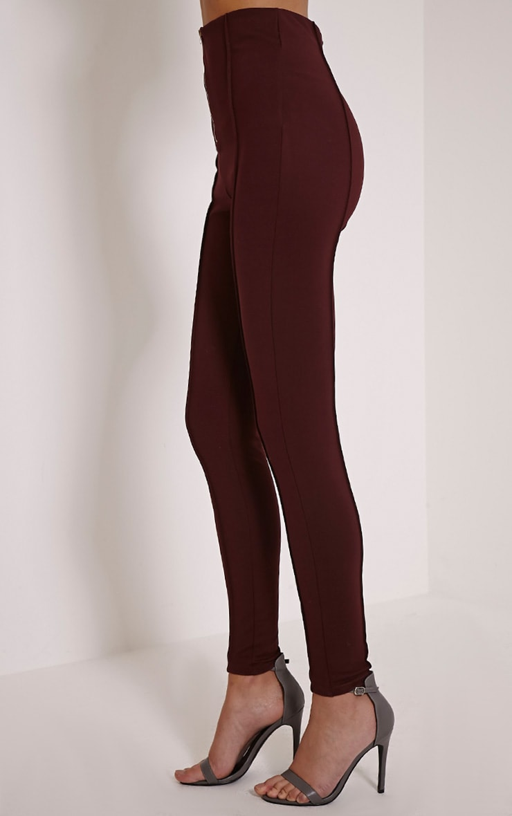 Aliza Plum High Waisted Zip Front Cigarette Trousers 4
