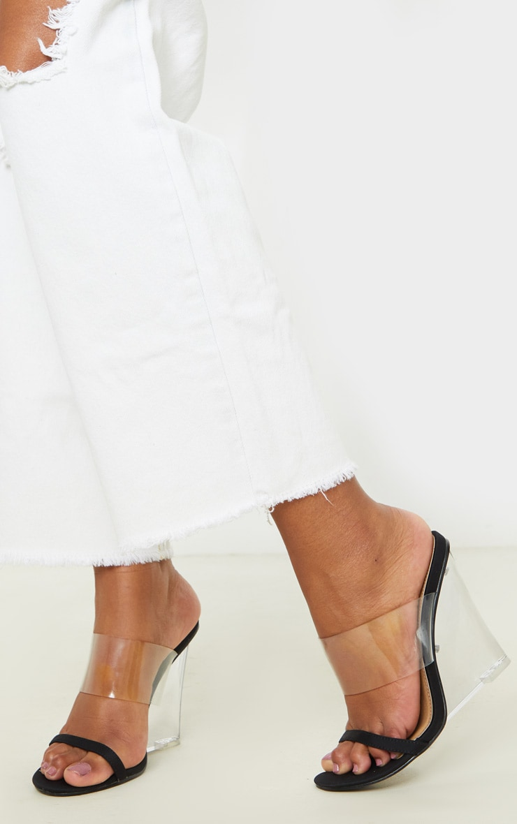 Black Clear Wedge Mule Sandal 2