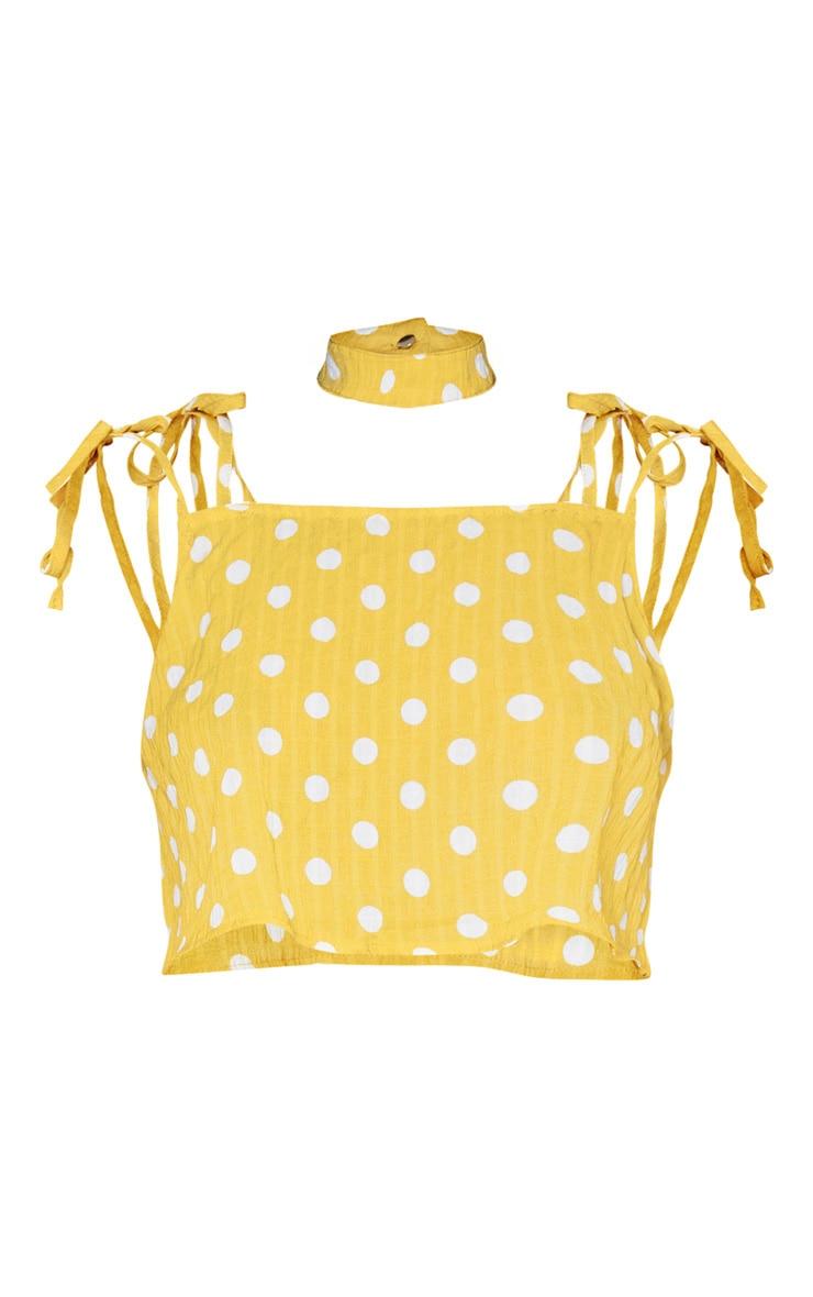 Mustard Cheesecloth Polka Dot Crop Top 3
