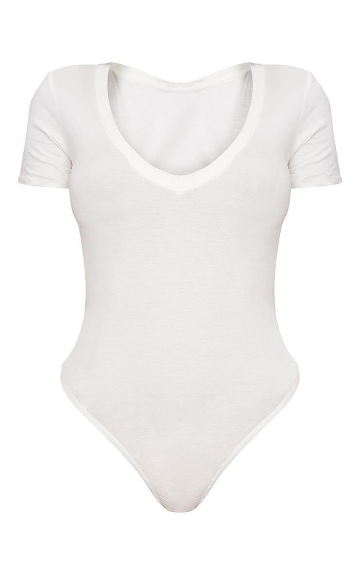 Shape White Jersey V Neck Bodysuit 3
