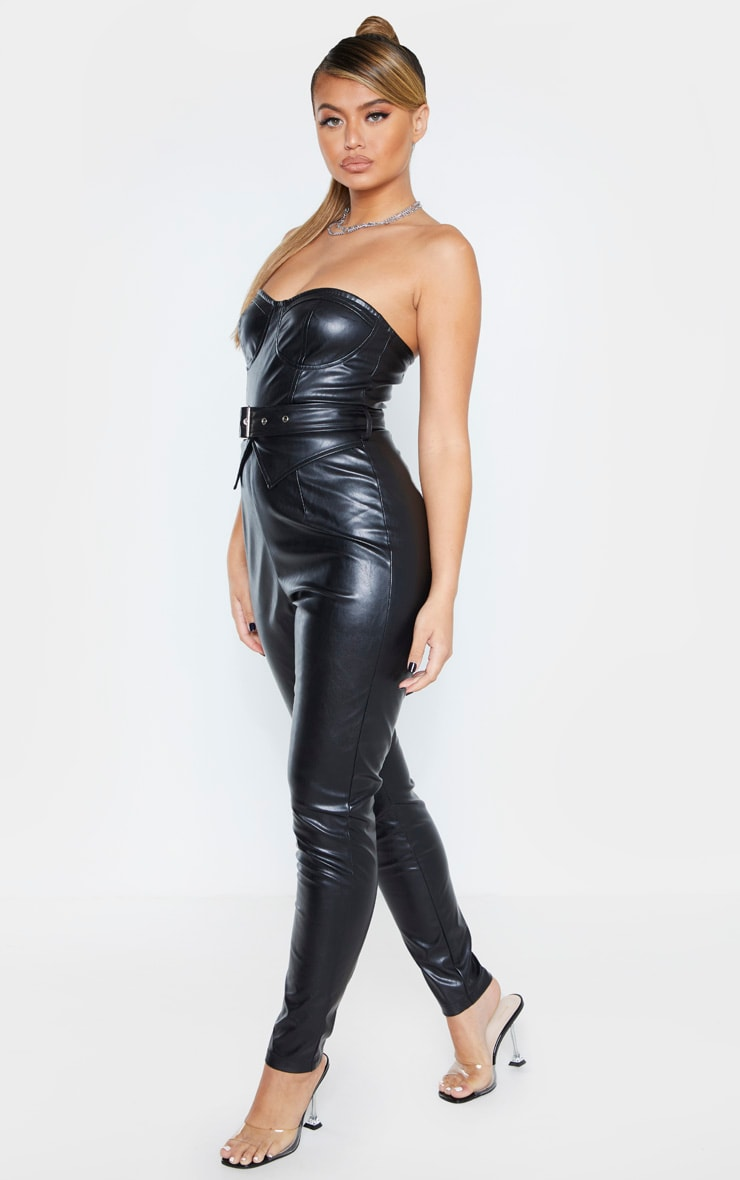 Black Faux Leather Belted Bandeau Jumpsuit 4