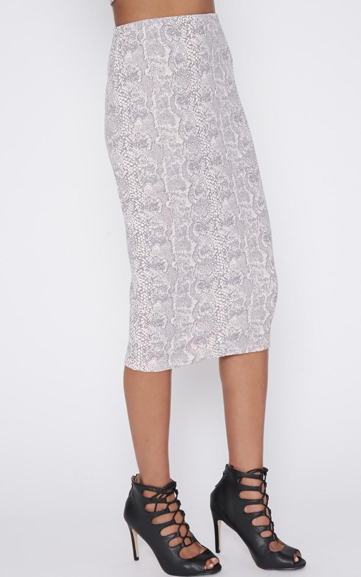 Alycia Snakeskin Print Midi Skirt 4