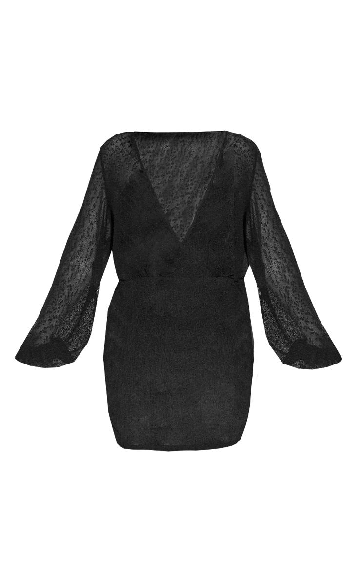 Plus Black Textured Sheer Beach Dress 5