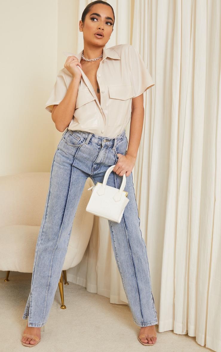 Petite Ecru Faux Leather Oversized Short Sleeve Shirt 3