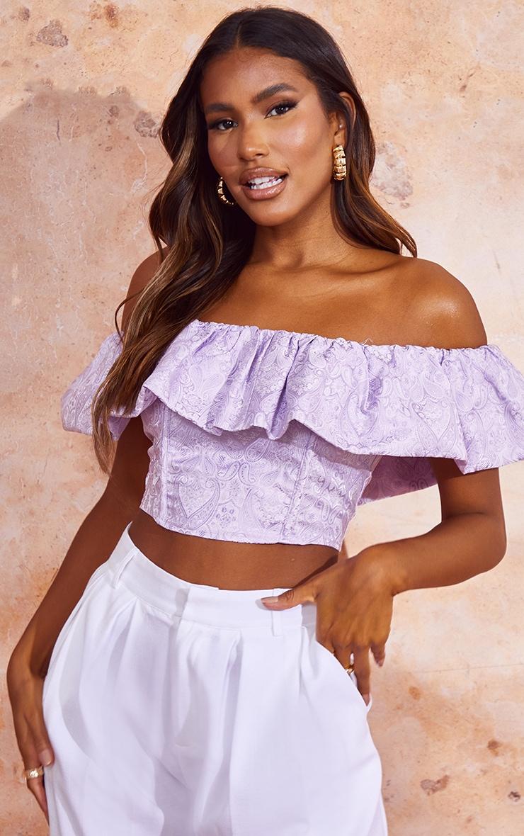 Lilac Woven Jacquard Frill Bardot Crop Top 1