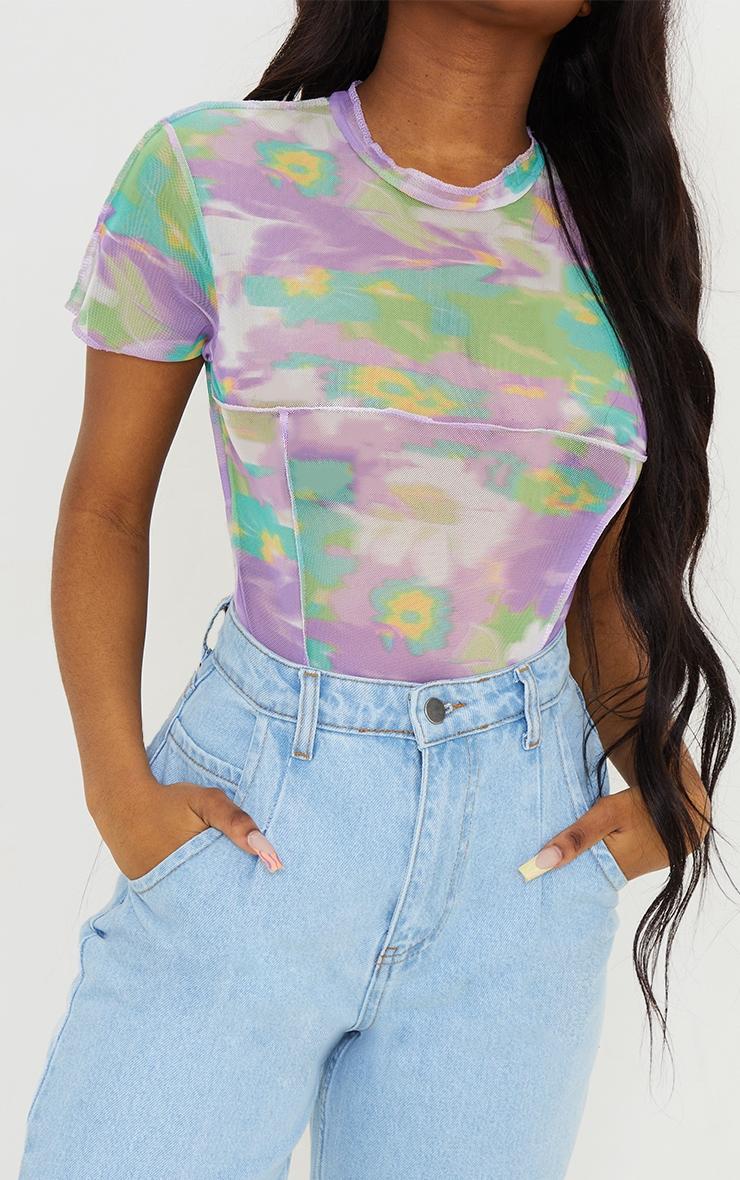 Lilac Mesh High Neck Contrast Seam Short Sleeve Bodysuit 4