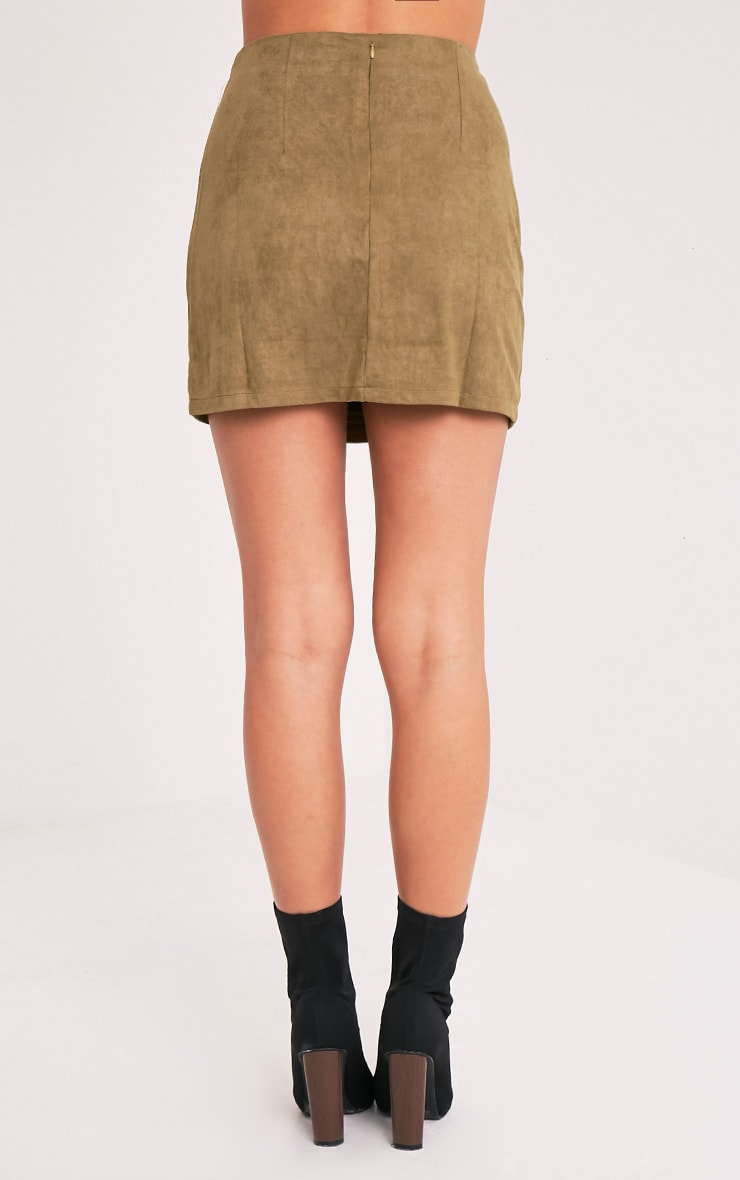 Lauree Khaki Faux Suede Mini Skirt 5