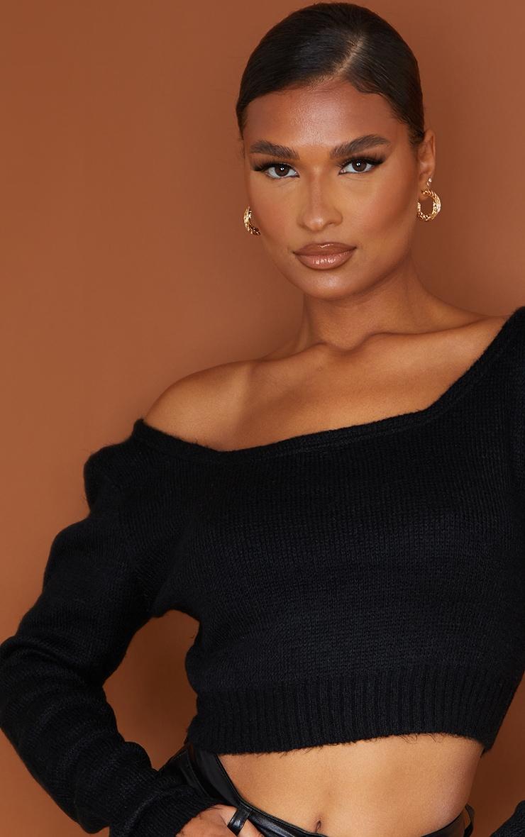 Adelaida Black Off Shoulder Knitted Crop Jumper  4
