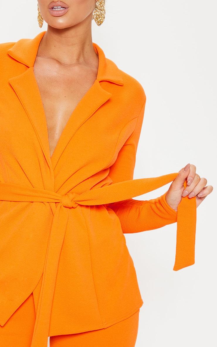 Blazer orange à ceinture à boucle 5