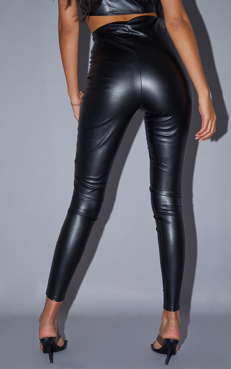 Tall Black Faux Leather High Waisted Legging 3