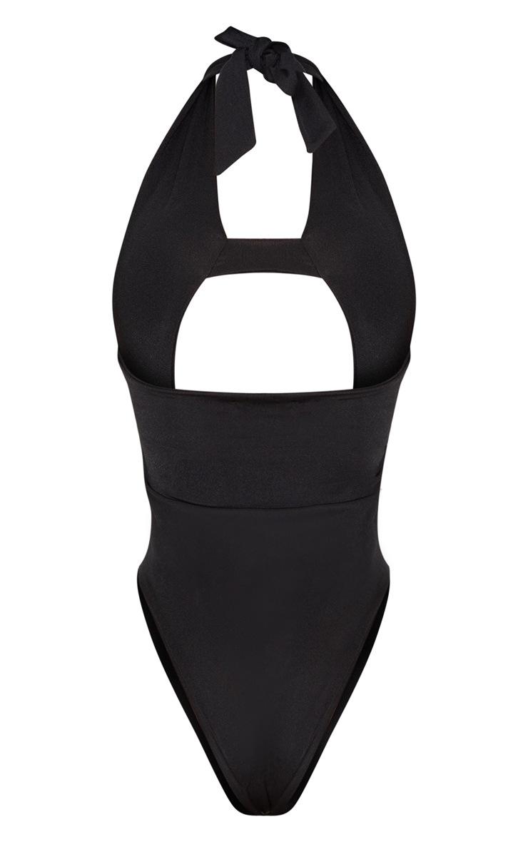Shape Black Cut Out Front Halterneck Swimsuit 4