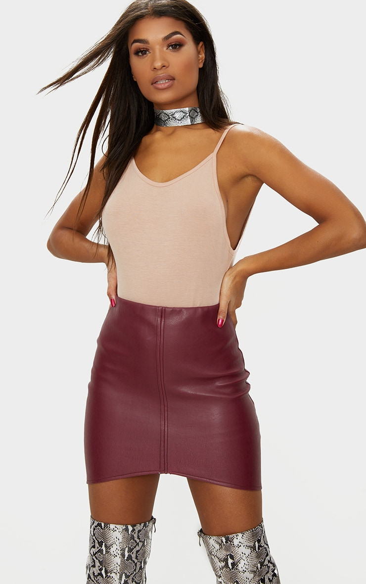 Maroon Faux Leather Asymmetric Panel Mini Skirt 1