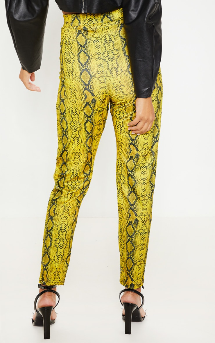 Yellow Snake Printed Cigarette Pants 4