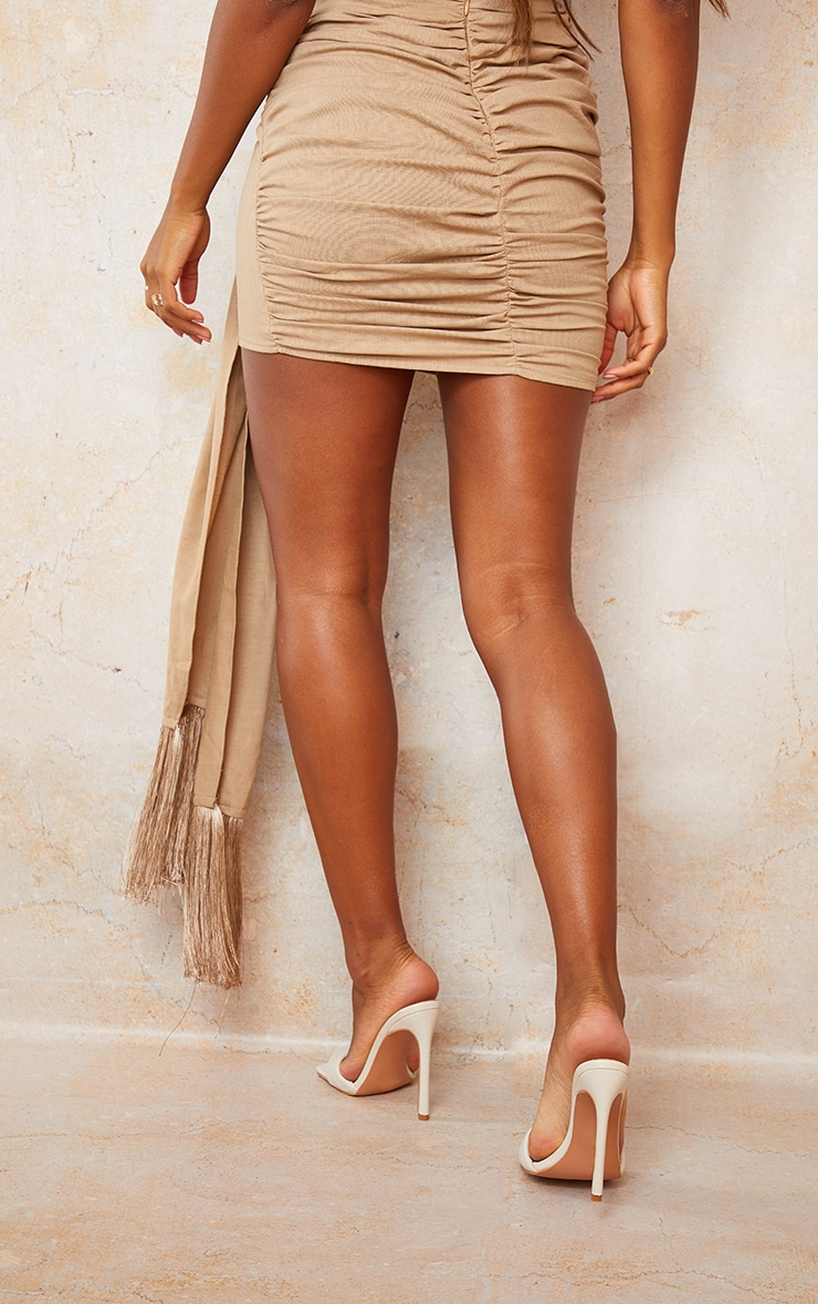 Sand Linen Feel Ruched Bum Extreme Tie Detail Mini Skirt 3