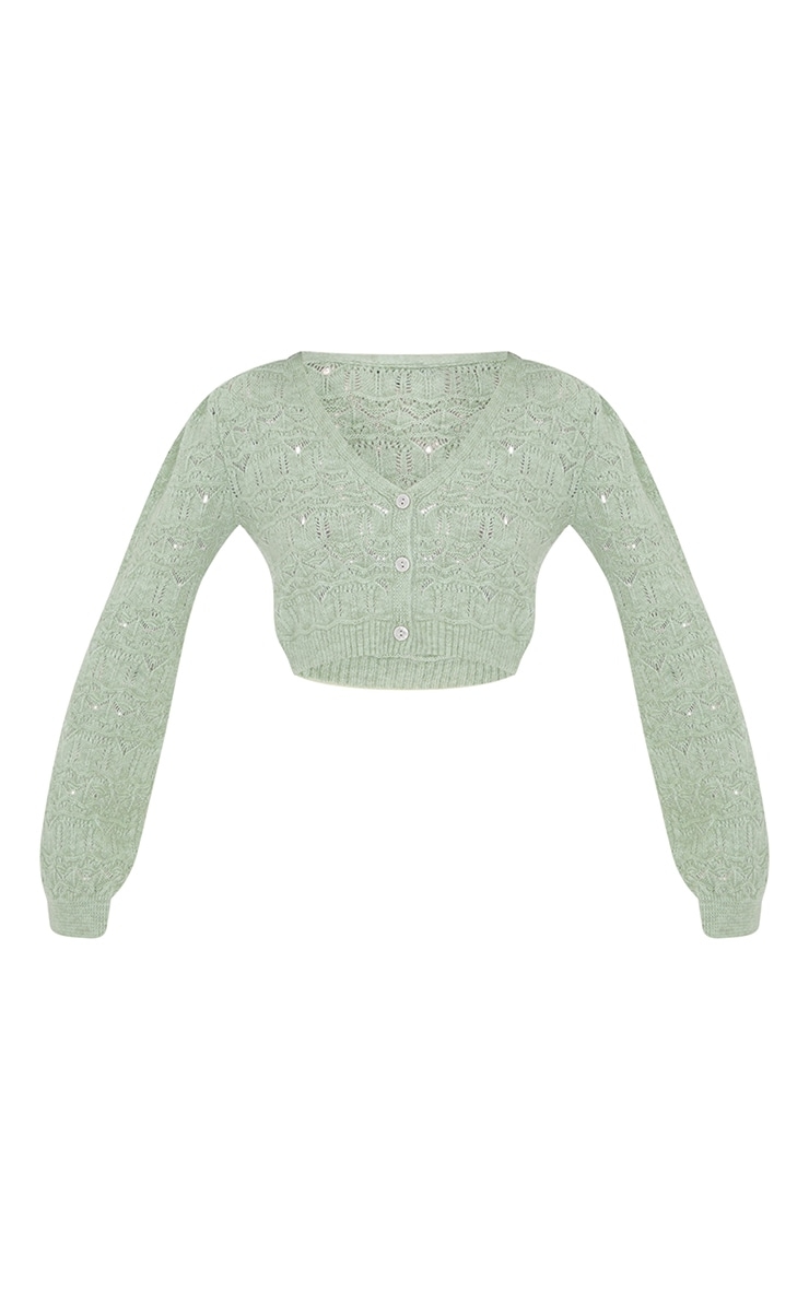 Sage Green Soft Pointelle Knitted Button Up Cardigan 5