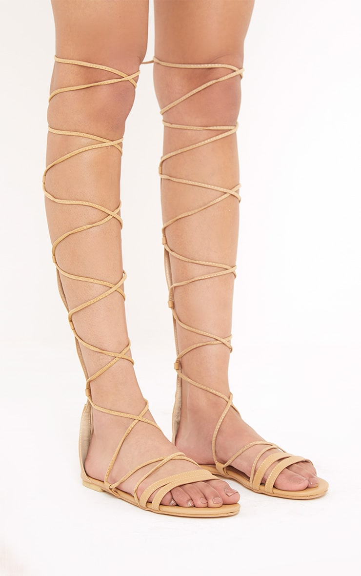 Lorna Nude Over The Knee Lace Up Sandals 3