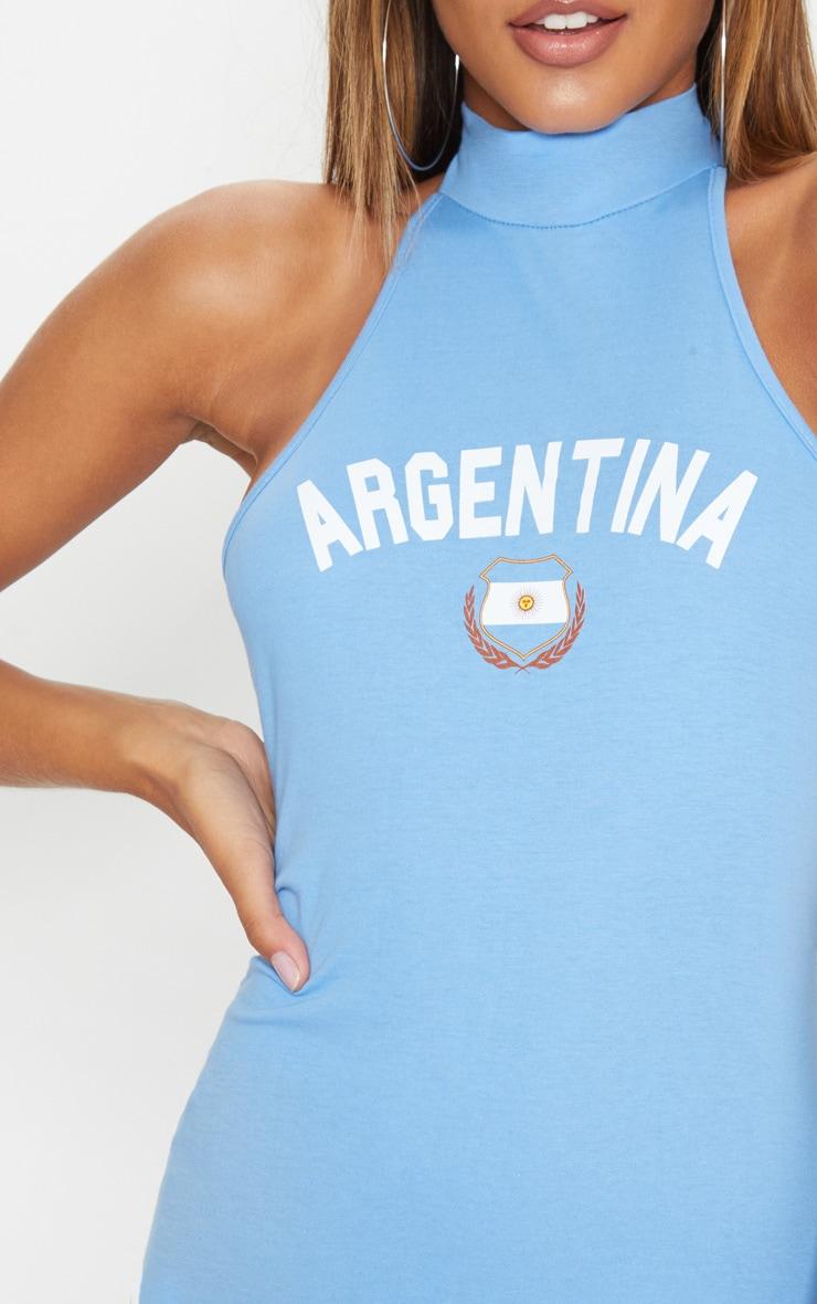 Pastel Blue Argentina Football High Neck Bodycon Dress 5