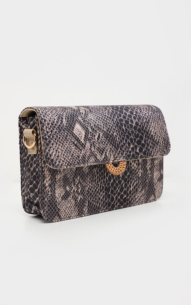 Natural Snake Print Nude Strap Cross Body Bag 2