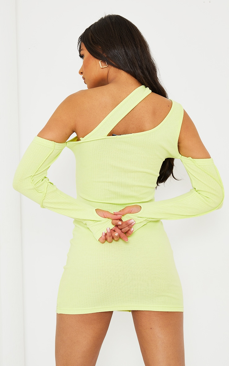 PRETTYLITTLETHING Lime Rib Binding Detail Cold Shoulder Bodycon Dress 2