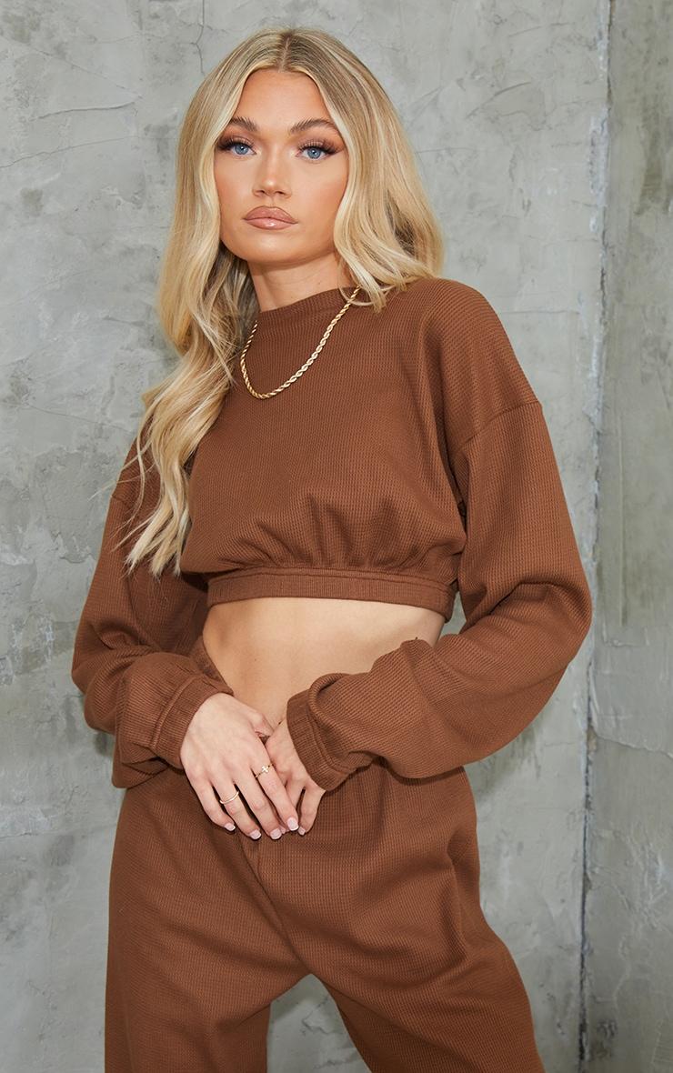 Brown Waffle Elastic Hem Cropped Sweater 1