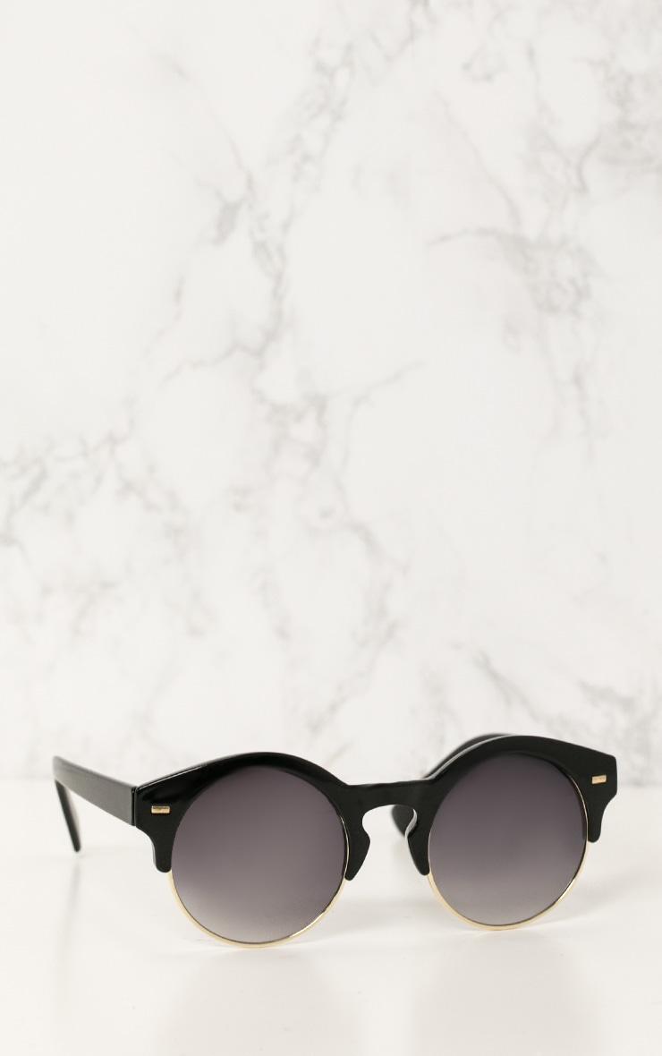 Black Classic Round Retro Sunglasses 2