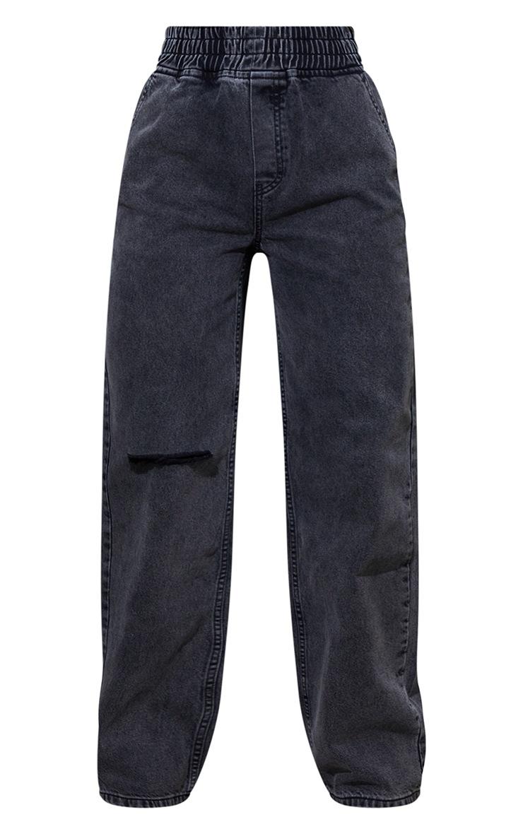 Washed Black Split Knee Wide Leg Jogger Jeans 5