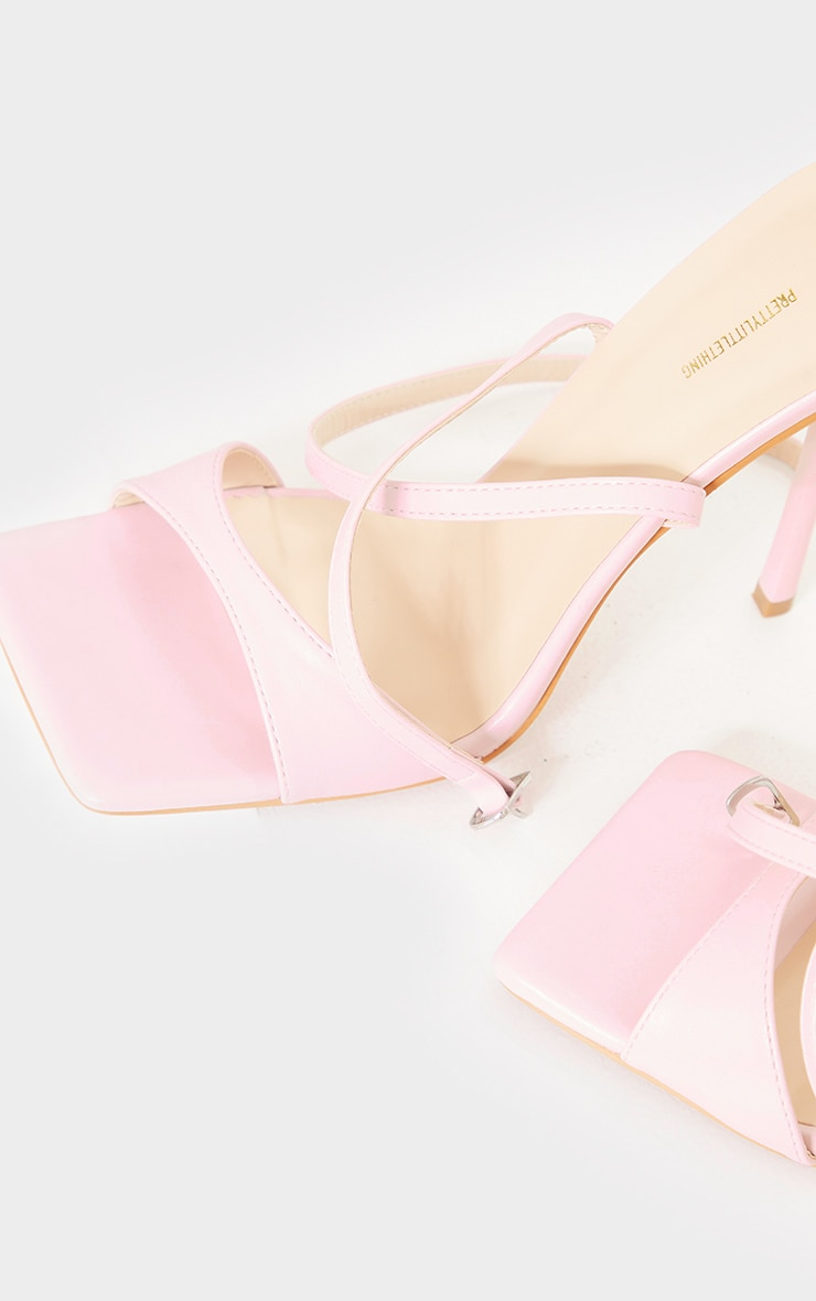 Baby Pink Pu Barely There Cross Back Strap High Heeled Sandals 3