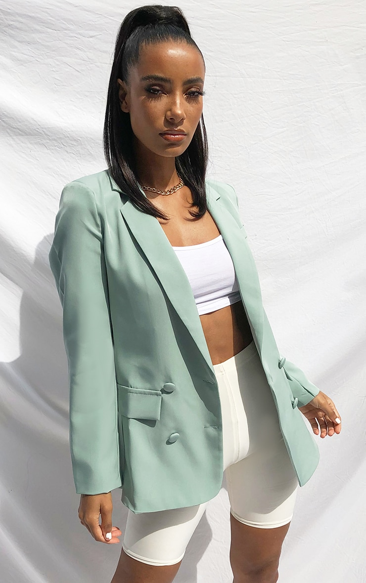 Sage Double Breasted Pocket Detail Woven Blazer 1