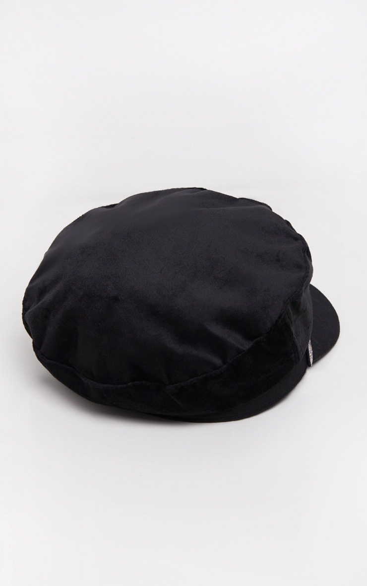 Black Diamante Buckle Baker Boy Hat 3