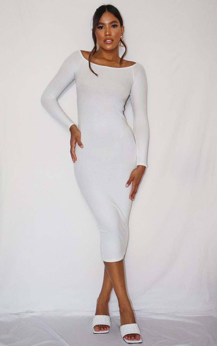 Cream Brushed Rib Twist Back Bardot Midi Dress 3