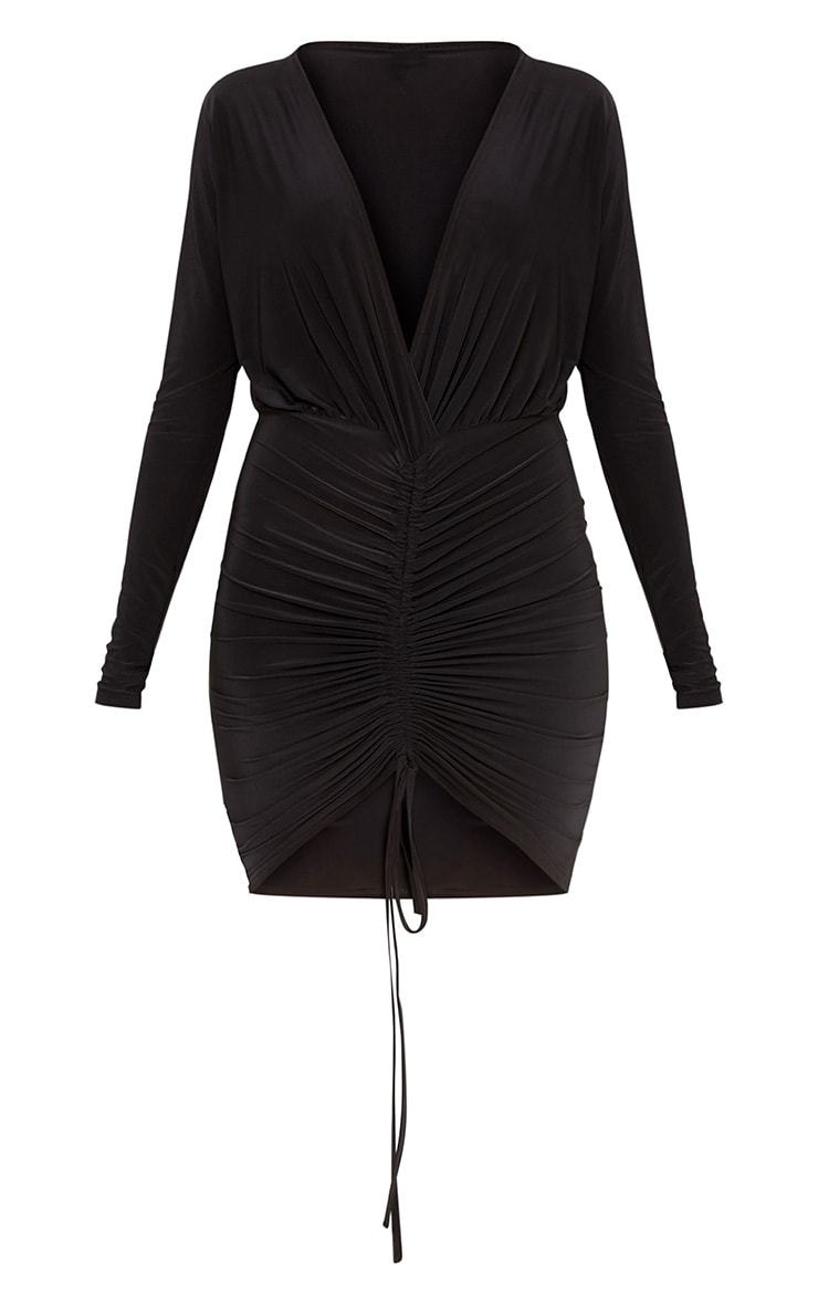 Oriana Black Plunge Ruched Front Bodycon Dress 3