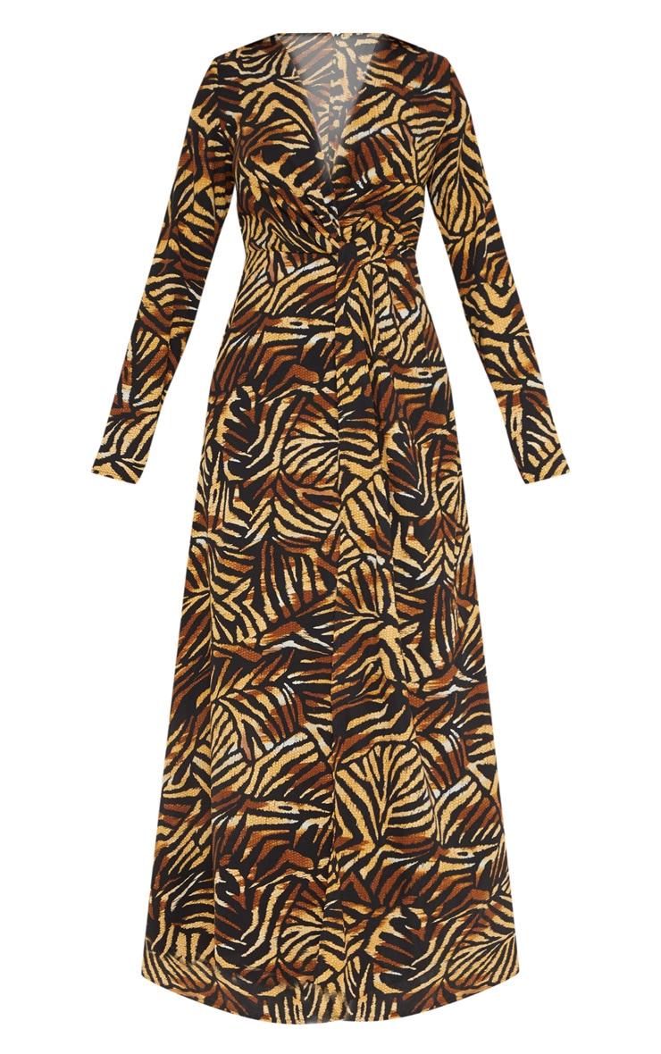 Petite Brown Tiger Print Twist Front Maxi Dress 3