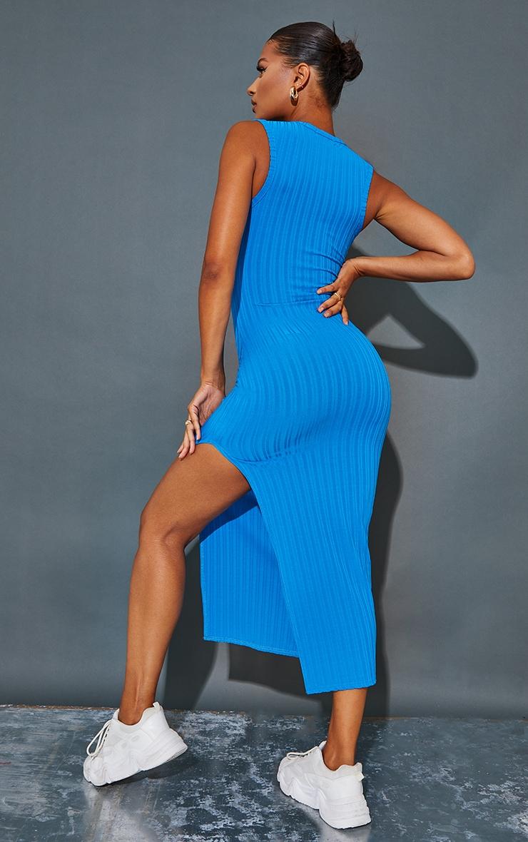 Recycled Blue Rib Split High Neck Midaxi Dress 2