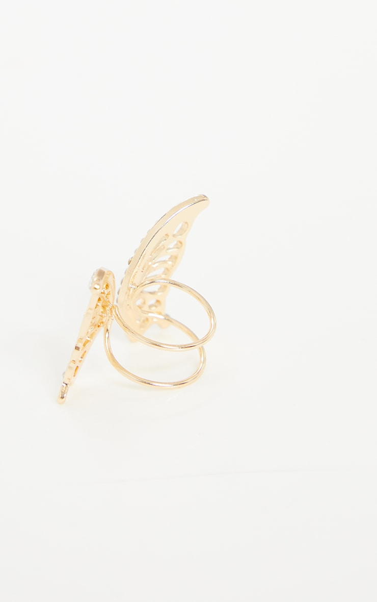 Gold Diamante Butterfly Cut Out Ring 2
