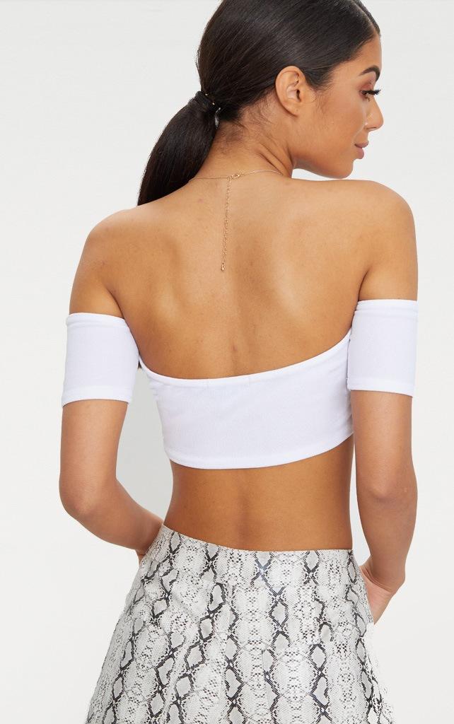 White Crepe Bardot Sleeve Detail Crop Top 2