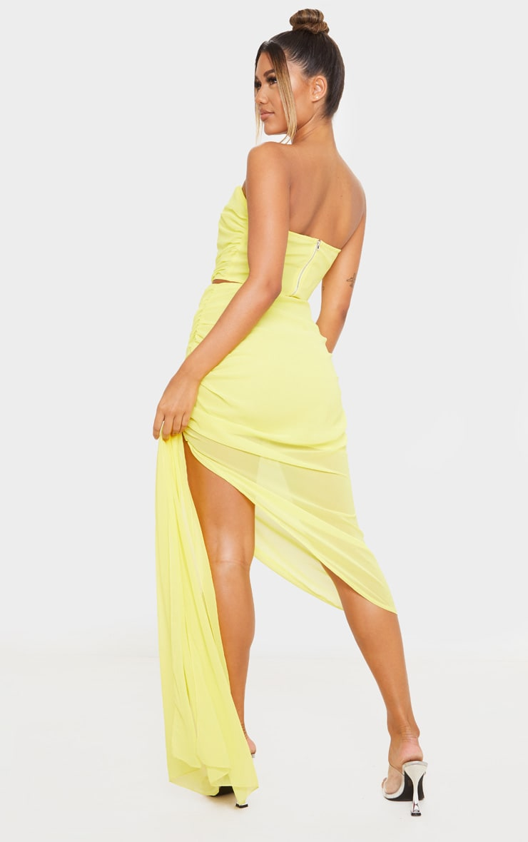 Yellow Woven Structured Curved Crop Top 2