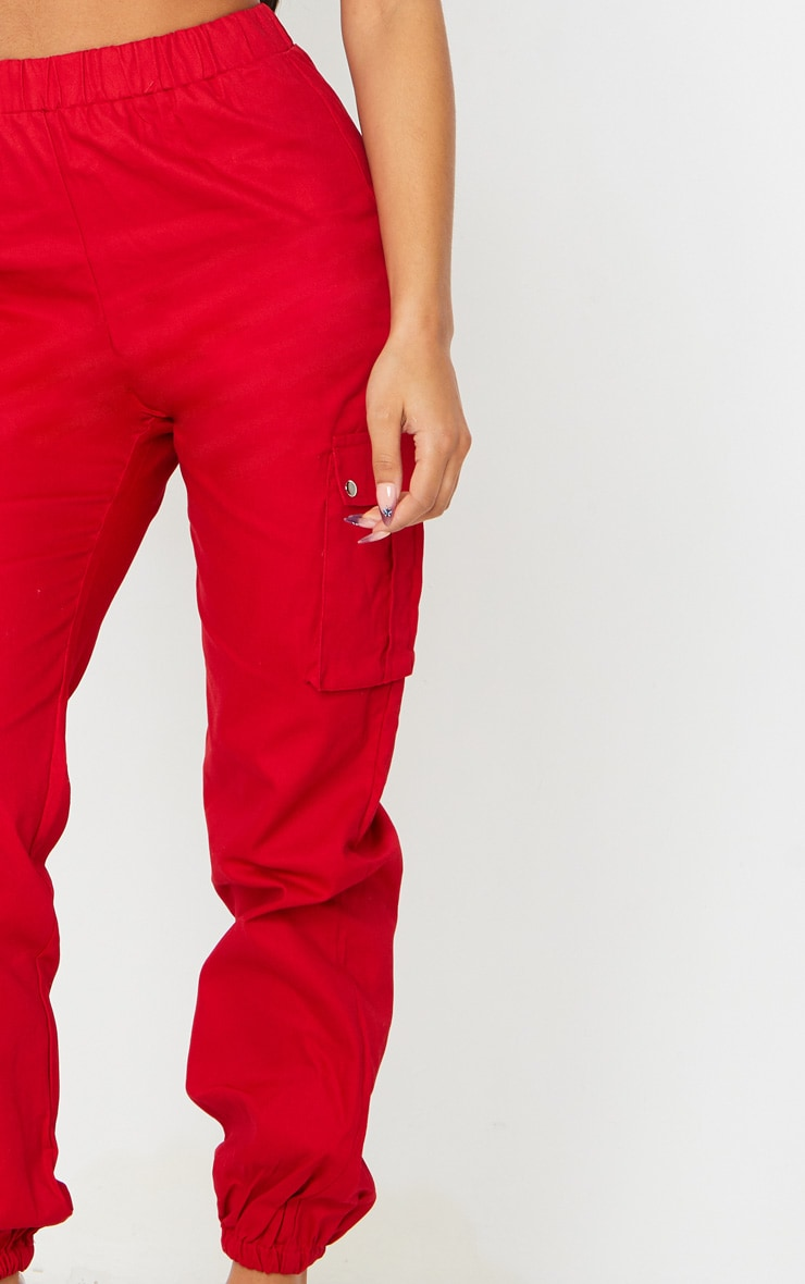 Red Pocket Detail Cargo Trousers 4