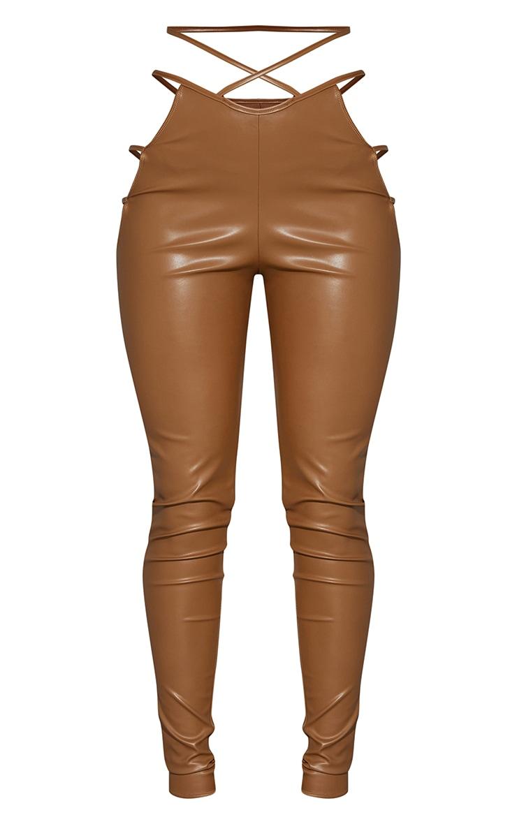 Camel Faux Leather Cut Out Waist Leggings 5