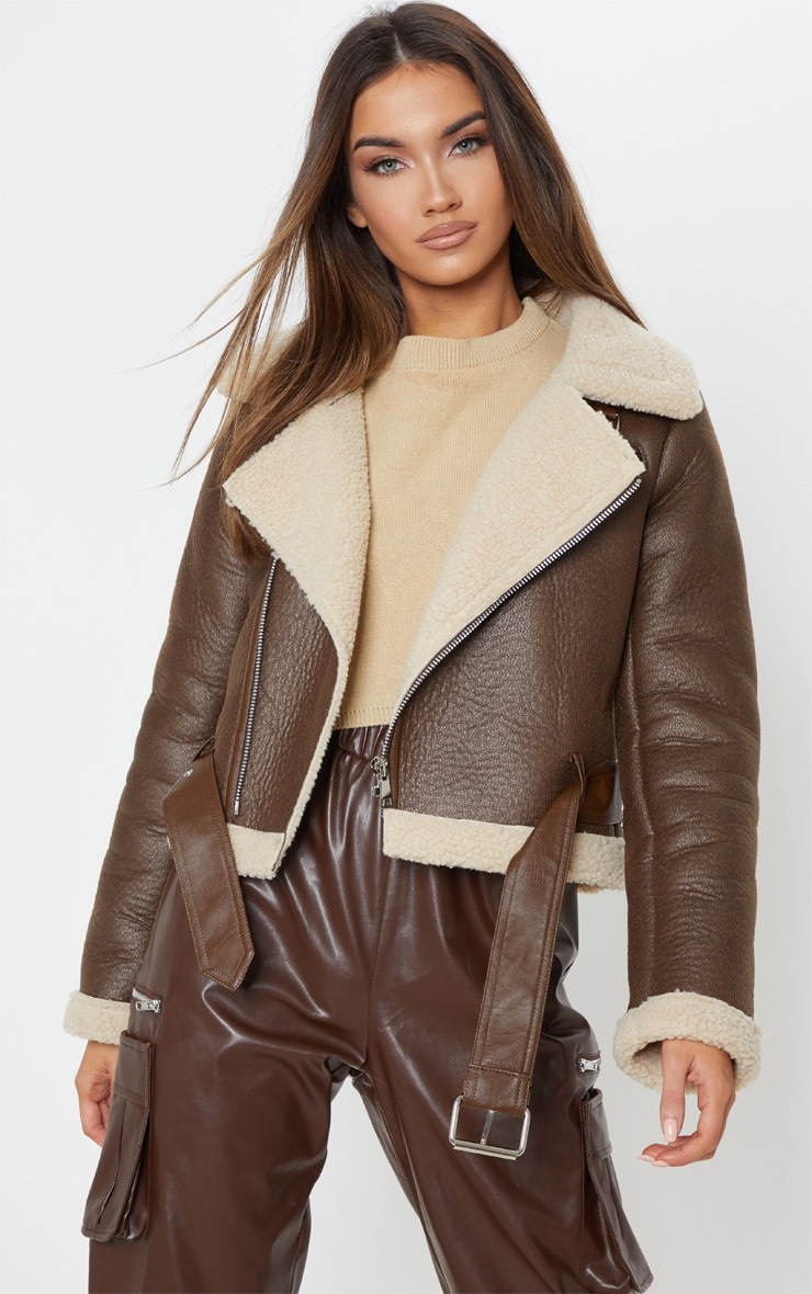 Brown Contrast Faux Fur Cropped Aviator 1