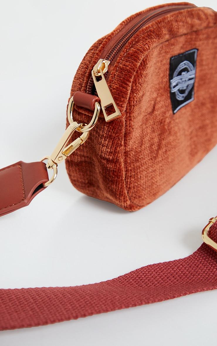 PRETTYLITTLETHING Burgundy Cord Mini Cross Body Bag 3