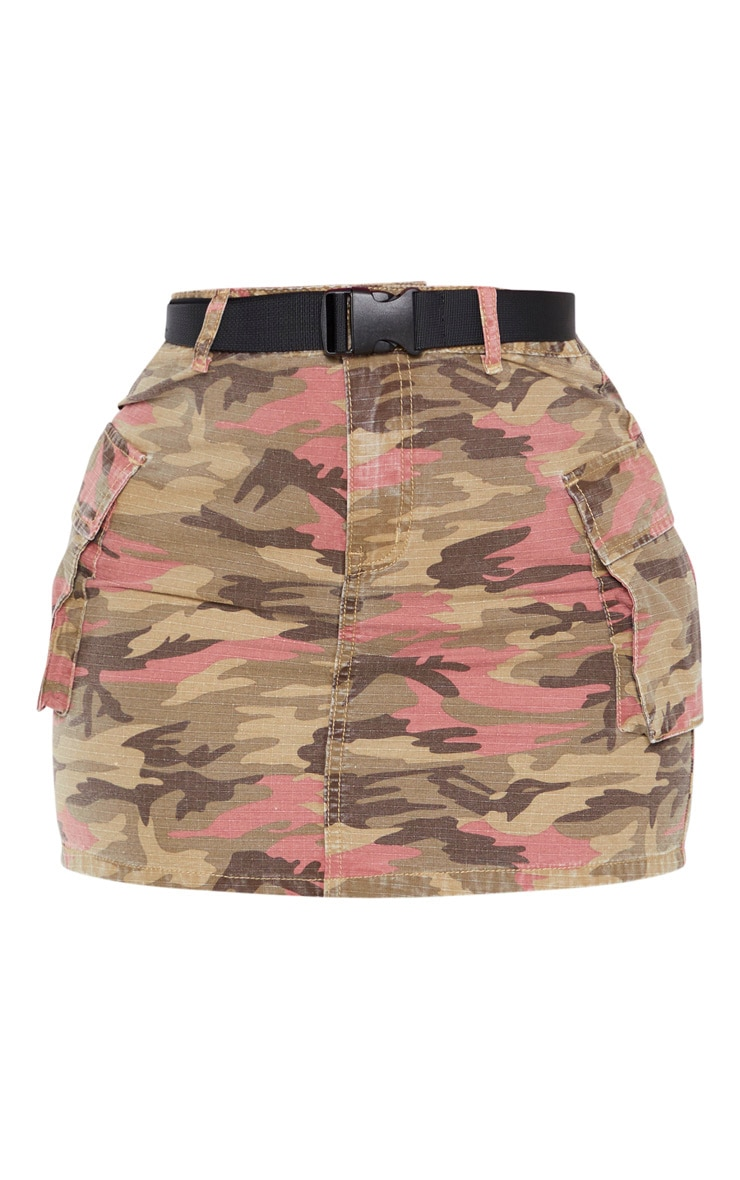 Camo Belted Denim Skirt 3