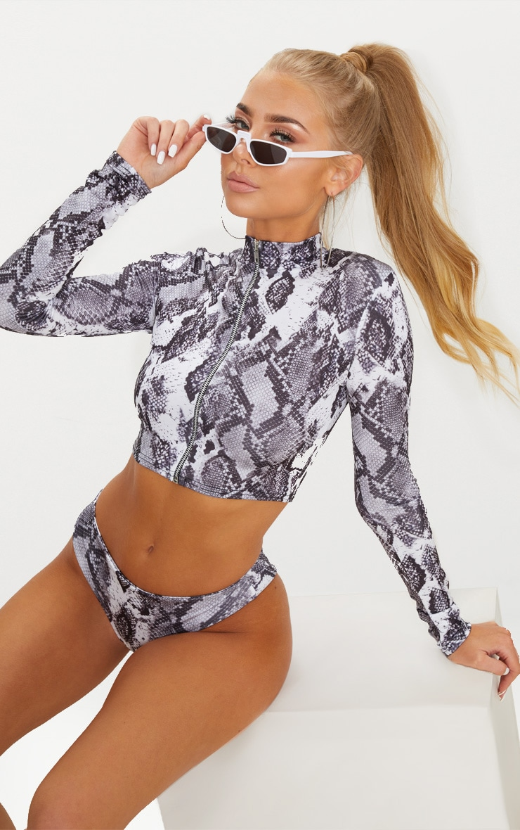 Grey Snake Long Sleeved Zip Up Bikini Top