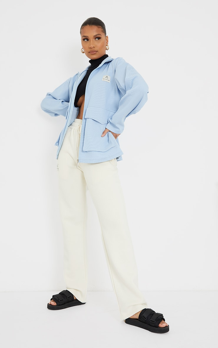 PRETTYLITTLETHING Baby Blue Pocket Front Ribbed New Season Jacket 3