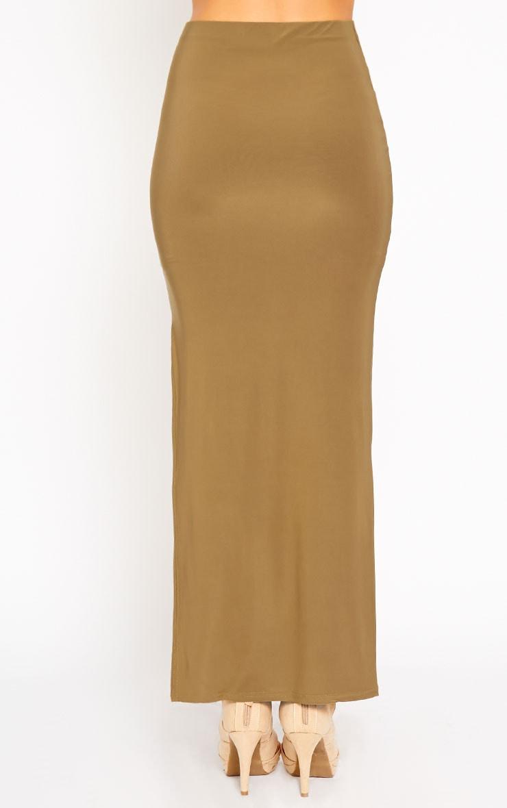 Helsa Khaki Slinky Split Maxi Skirt 4
