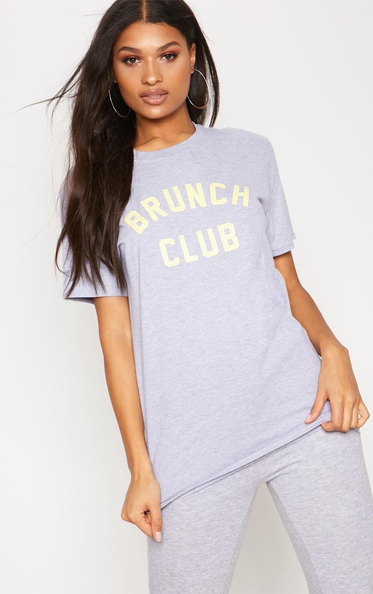 Grey Brunch Club Slogan Oversized T Shirt 1