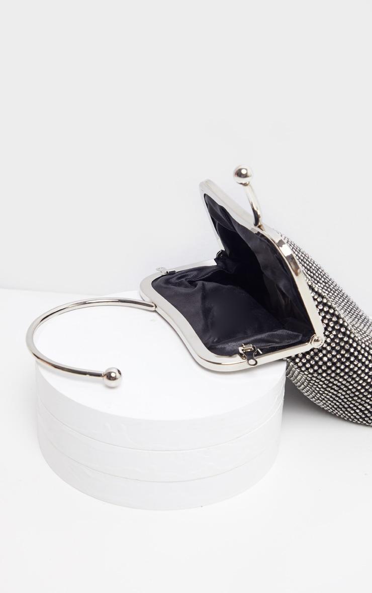 Black Diamante Ring Handle Grab Bag   4