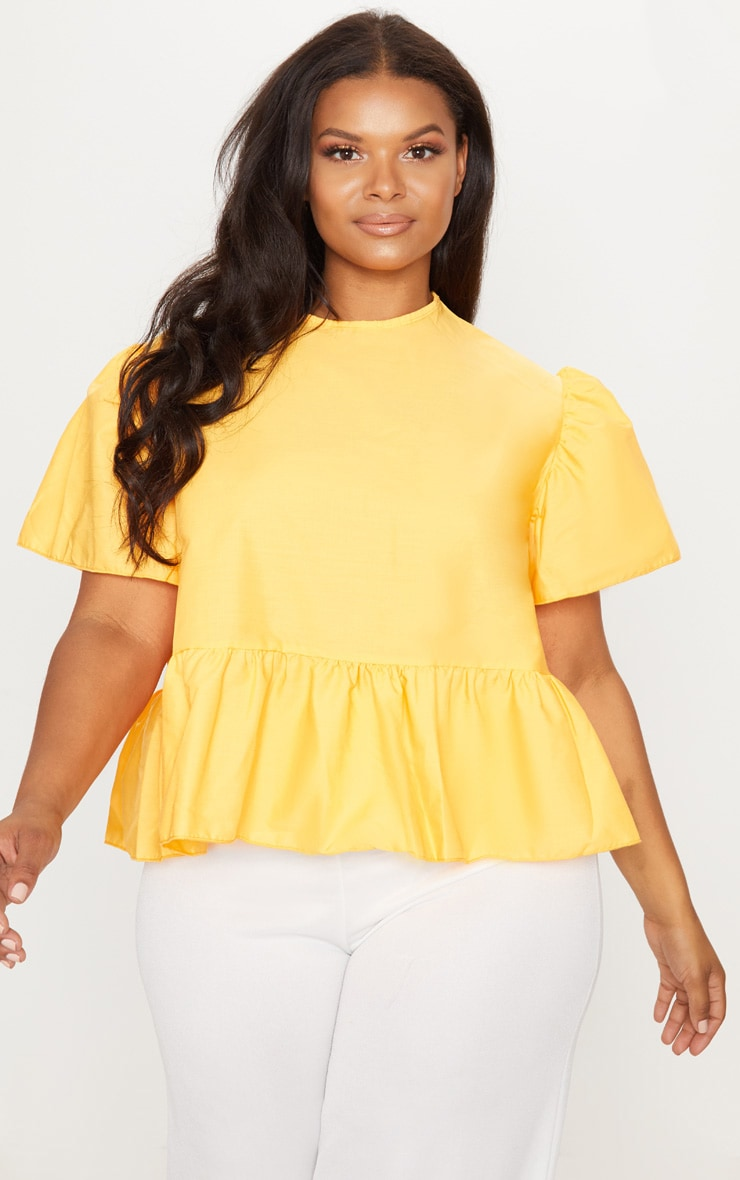 Plus Orange  Poplin Top 1