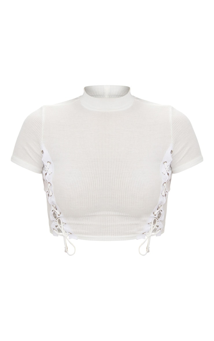 White Rib High Neck Lace Up Crop Top  3